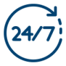 24-7 support icon blue